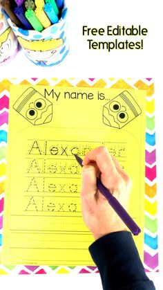 Free editable name tracing templates for the whole class! Free editable name tracing templates for the whole class! ,Name Activities Name Tracing Activities. Preschool and kindergarten kids alike will love these Name Tracing Activities. Name Activities Preschool, Preschool Prep, Preschool Learning Activities, Preschool Lessons, Preschool Worksheets, Kids Printable Activities, All About Me Activities For Preschoolers, Preschool About Me, Teaching Kids To Write
