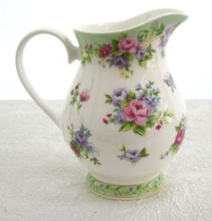 This pitcher is so pretty, the floral colors and the design is perfect Small Bouquet, Chamomile Tea, Vintage Dishes, Chocolate Pots, China Porcelain, Tea Set, Tea Party, Tea Cups, Stoneware