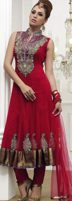 $166.31 Red Sleeveless Net Long Anarkali Salwar Kameez 18624