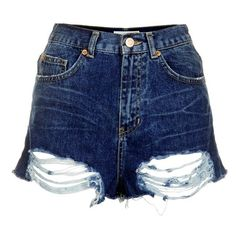 Women's Topshop Moto High Rise Denim Shorts (395.430 IDR) ❤ liked on Polyvore featuring shorts, bottoms, denim cutoff shorts, high-waisted denim shorts, distressed denim shorts, blue jean shorts and cut off denim shorts