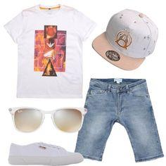 T-shirt+con+stampa+Armani+Junior,+bermuda+in+jeans+Diesel,+sneakers+basse+di+colore+bianco,+occhiali+da+sole+Ray-Ban+Junior+e+cappello.+Per+un+ragazzo+griffato+che+ama+la+comodità.