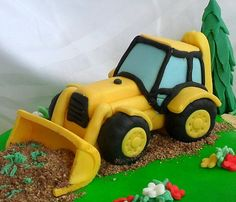 excavator fondant cake topper