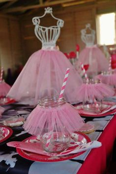 Ballet Birthday Party table settings and centerpiece! See more party planning ideas at CatchMyParty.com!