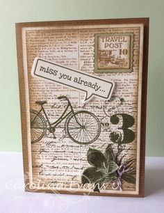 "Stampin' Up! ... hand crafted card from Carolina Evans ... Vintage colloage look in neutral colors ... luv the ""miss you already""  in the talk balloon ..."