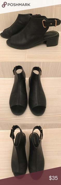 Topshop open toe sling back booties. Only worn maybe once, and in perfect condition! These booties are perfect for transitioning into fall or even for summer! Heel is approximately 1 1/2 inches. Topshop Shoes Ankle Boots & Booties