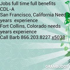 #Jobs #hiring CDL-A  FULL TIME  FULL BENEFITS San Francisco, CA  Fort Collins, CO  BOTH need 2 years experience  Call barb at 866.203.8227  X5038