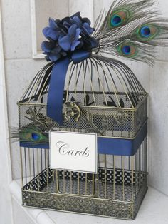 Vintage style Wedding  Birdcage Card Holder