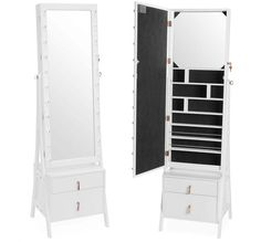 Beautify Lockable Floor Standing Make Up and Jewelry Cabinet Organizer Armoire Storage with 2 Drawer, Inside Mirror & LED Warm Lights (White Illuminated) Jewelry Mirror, Jewelry Cabinet, Jewelry Armoire, Storage Mirror, Storage Drawers, Storage Spaces, Storage Cabinets, Standing Mirror, Large Drawers