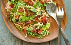 BLT Pasta Salad - keeper; do not add lettuce until serving (for leftover); used 9 bacon strips & bowtie pasta & worked well