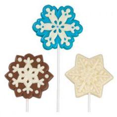 Maak je eigen lollies met Chocolade Melts of Candy Melts. Vorm van een sneeuwvlok, 3 verschillende designs.