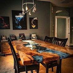 Resin Furniture, Home Furniture, Live Edge Furniture, Table Turquoise, Epoxy Wood Table, Diy Resin Table, Epoxy Table Top, Wood Slab Table, Walnut Dining Table