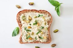 Tofu Ricotta Toast Recipe add 1 cup tofu to a blender with cup cashews, 2 tablespoons nutritional yeast, 1 tablespoon olive oil, and a dash of sea salt to a food processor and process until creamy. Tofu Ricotta, Vegetarian Recipes, Healthy Recipes, Vegan Meals, Vegas, Vegan Bread, Healthy Appetizers, Perfect Food, Food Processor Recipes