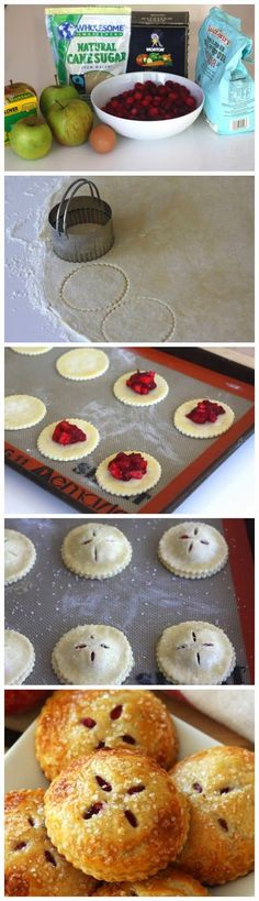 Mini Cranberry Apple Pies!  Who said eating GOOD had to be boring? Dig in Kids! And it's great for a spring/summer brunch or picnic too!