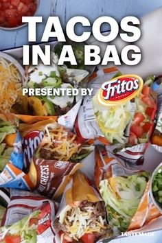 Take your taco night up a notch by adding all your fave fillings and toppings directly into a Fritos bag. Pro Tip: Pile high with cheese and sour cream for the ultimate experience. #Sponsored by Fritos Meat Recipes, Mexican Food Recipes, Dinner Recipes, Cooking Recipes, Healthy Recipes, Slow Cooking, Taco In A Bag, Cupcakes, Deep Dish