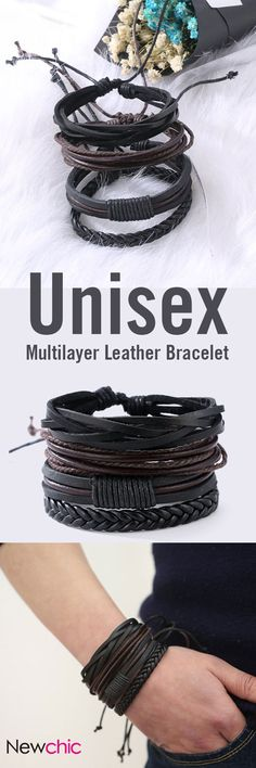[Newchic Online Shopping] 46%OFF Unisex Multilayer Leather Bracelets