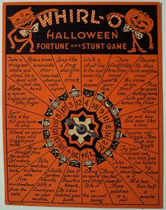 Vintage Halloween Fortune & Stunt Game. make from a piece of wood and update the stunts