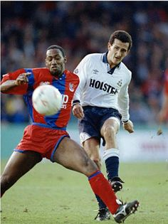 Vinny Samways being tackled by Andy Grey. Andy Grey - A useless plank of wood Spurs actually bought. God Almighty some of our signings back then.