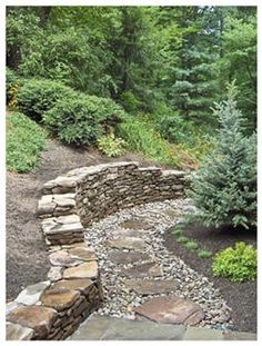 gravel and stepping stones.