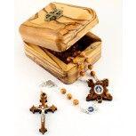 Olive Wood Rosary with Jerusalem Cross Box