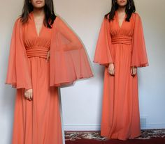 Coral Maxi Dress Sheer Cape Goddess Gown 70s by MidnightFlight
