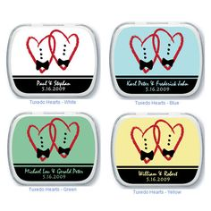 Tuxedo Hearts Personalized Mint Tins