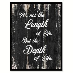 It's not the length of life but the depth of life Motivational Quote Saying Canvas Print with Picture Frame Home Decor Wall Art