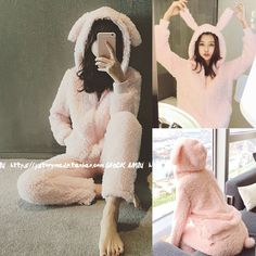Cute Cartton Women Pink Unicorn Rabbit Flannel Hoodie Pajamas Costume Cosplay Animal Onesies Sleepwear For Women Adults Child