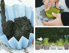 gartendeko aus beton pflanzen topf diy form