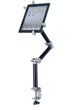 """Mantis iPad & Tablet Desk & Wall Mount ($109.95) Optional mounting brackets - one for desk mount/ one for wall mounting Three sectioned modular arm can be used with one, two or all three arm sections Attaches to table or desk tops, night stands, headboards, end tables and coffee tables 32"""" long at full extensions measured from the base with all three arm sections 4-prong holding bracket holds tablets up to 11-1/4"""" long & compresses down to smartphone size"""