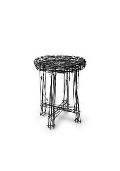 """Stool from the """"Drawing"""" series of furniture by Jinil Park. Made from welded wire."""