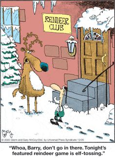holiday cartoon The Flying McCoys by Glenn and Gary McCoy ~ Christmas Humor ~ Reindeer amp; Christmas Jokes, Christmas Cartoons, Christmas Art, Christmas Comics, Funny Cartoons, Funny Comics, Funny Xmas Cards, Holiday Cartoon, Santa's Nice List