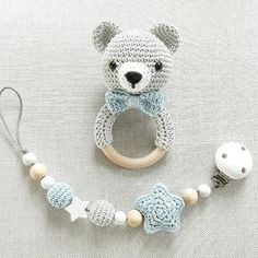 After so many sweet bunnies there was another bear. Of course with pa . Crochet Baby Toys, Crochet Gifts, Crochet Animals, Crochet For Kids, Crochet Dolls, Baby Knitting, Handmade Baby, Handmade Toys, Handgemachtes Baby