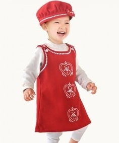 Little #girls #classic #wool #pinafore #pini #dress in #red & #white inspired by the #1950's www.bluebrdandhoney.com