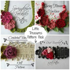 Crochet PDF Pattern Springflower necklace #6- crocheted necklace, crochet flowers, flower necklace, crochet pattern, photo tutorial