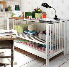 Upcycled Baby Cribs recycling ideas for recalled and old cribs table with storage Old Baby Cribs, Old Cribs, Baby Beds, Sweet Home, Diy Casa, Deco Design, Blog Design, Design Ideas, Baby Furniture