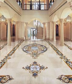 We specialize in one-of-a-kind marble inlay flooring, backsplaces, tables, and more. Floor Design, Tile Design, Foyer Flooring, Marble Floor, Marble Mosaic, Luxury Homes Interior, Interior Design, Grand Foyer, Blue Stones