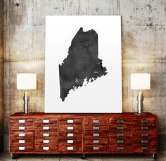 USA MAP PRINTABLE Maine watercolor Iowa print Maine by TypoWorld