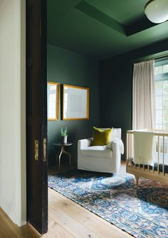 Jean Stoffer - Ada modern classic sophisticated nursery - dark green walls Dark Green Rooms, Light Green Walls, Dark Walls, Bedroom Green, Curtain Designs, Room Lights, Modern Classic, Beautiful Homes, New Homes