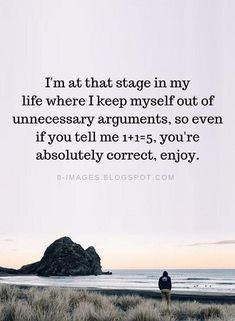 Arguments Quotes Im at that stage in my life where I keep myself out of unnecessary arguments, so even if you tell me 1 youre absolutely correct, enjoy. Quotable Quotes, Wisdom Quotes, True Quotes, Great Quotes, Quotes To Live By, Motivational Quotes, Funny Quotes, Inspirational Quotes, At Peace Quotes