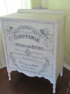Antique dresser with original work, hand painted in enamels and acrylics. The graphics are from an antique Parisian department store ad, the cherubs are copied from a Victorian bookplate graphic.  http://seattle.craigslist.org/skc/fuo/3849448440.html