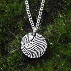 Beautiful Custom Fingerprint Small Circle Pendant Necklace!