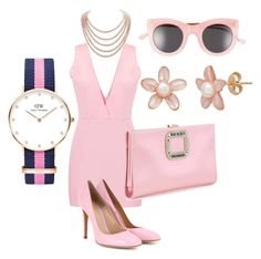 """""""Pink-ish"""" by unusualengagementringsreview ❤ liked on Polyvore featuring DaVonna, Gianvito Rossi, Daniel Wellington, Illesteva and Roger Vivier"""
