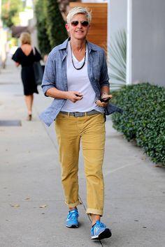 Ellen DeGeneres blue trainers yellow pants white t-shirt blue shirt