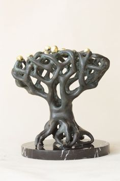 Petit granite #sculpture by #sculptor Snejana Simeonova titled: 'TREE I (abstract Contemporary Stone Outdoor statue)'. #SnejanaSimeonova #OutdoorStatues