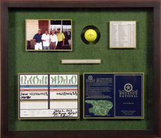 Golf Hole In One Shadowbox With Accompanying Score Card
