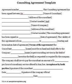 Consulting Contract Document | Sample Contracts | Pinterest