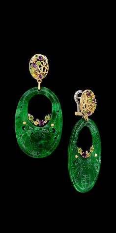 RP: Yellow White Gold Jadeite Earrings - masterexclusive.com