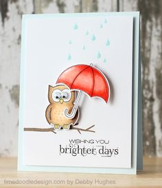 Clearly Besotted Stamps you're a hoot II and april showers stamp sets - CAS card - bjl