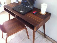 Mid century modern desk featuring black walnut and by scottcassin, $595.00
