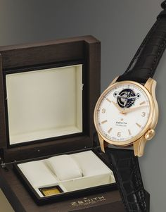 Zenith  A PINK GOLD AUTOMATIC TOURBILLON WRISTWATCH CAPTAIN CIRCA 2005